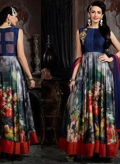 You are #confident to make a strong #style statement with this multi colour satin #designer #gown. The wonderful #attire creates a #dramatic #canvas with #extraordinary digital #print and #embroidered work