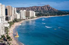 Aerial view of world-famous Waikiki Beach with Leahi, also known as Diamond Head backdrop. Description from montrealgazette.com. I searched for this on bing.com/images