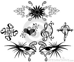 Some examples of tattoos: decorated cross, winged heart, a decorated treble clef, two decorated eyes and a flower.