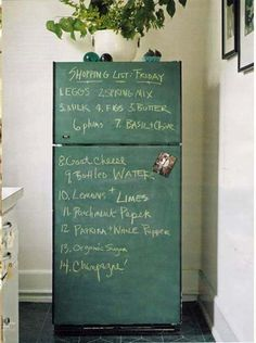 Another awesome use for chalkboard paint and a cool way to dress up a old fridge!  :=)