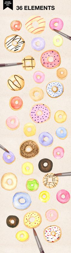WATERCOLOR DONUTS by Daria Bilberry on @creativemarket