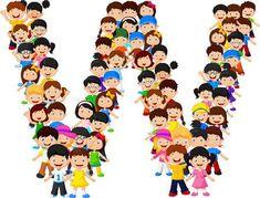 Los niños pequeños forman el alfabeto W School Cartoon, Cartoon Kids, Manners For Kids, Timetable Template, Bulletin Board Borders, Award Template, Blank Sign, Letters For Kids, School Clipart