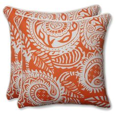 Outdoor/Indoor Addie Terra Cotta Throw Pillow Set of 2 - Pillow Perfect, Orange