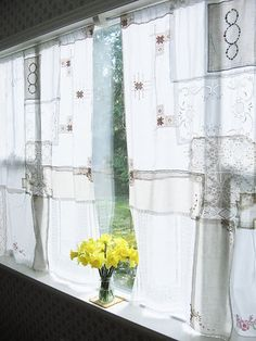 Vintage handkerchiefs/lace curtain from Dotty Angel.....need to hit the second hand stores...