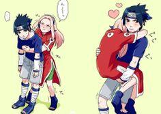 Young sakura was pretty strong , I think she could probably lift Sasuke . still , super cute comic Naruto And Sasuke, Naruto Shippuden, Sasuke Uchiha Sakura Haruno, Naruto Cute, Boruto, Anime Naruto, Anime Manga, Naruto Couples, Anime Couples