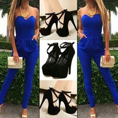 Blue pants suit with black strappy heels.