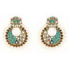 Best of Festive, Kriaa Kundan Blue Austrian Stone White Pearl Chandbali Gold Finish Earrings Buy Now at http://www.kriaa.in/product/?pd=MLI#.Vj3HSrcrLIU