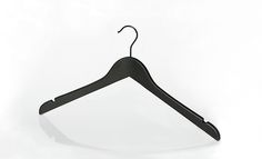 Tops and dress Soft-Touch wooden black hanger with notches. Size: 44,5 cm