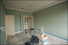 Painted Benjamin Moore Saybrook Sage with Bone White trim and China White ceiling.