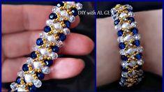 Cómo hacer pulsera de perlas y cuentas de cristal Pulsera de cuentas est... Bead Jewellery, Crystal Jewelry, Crystal Beads, Beaded Jewelry, Beaded Bracelets Tutorial, Beaded Bracelet Patterns, Handmade Bracelets, Gold Bracelets, Earrings Handmade
