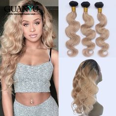Guanyuhair #27 Honey Blonde Bundles Brazilian Body Wave 100% Remy Human Hair Weave 3 Bundles With Frontal Closure 13x4 With Traditional Methods 3/4 Bundles With Closure