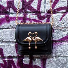 f01e44944a17 #flamingo bag black and gold #blackandgold Black Shoulder Bag, Winter,  Autumn Fall