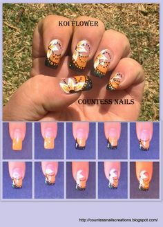 VOTE FOR YOUR FAVORITE until 09/30/2012!  www.SimpleNailArtTips.com   Koi Flowers Nail Art Tutorial Entry