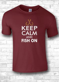 Keep Calm and Fish on t shirt  sports shirts by FourSeasonsTshirt
