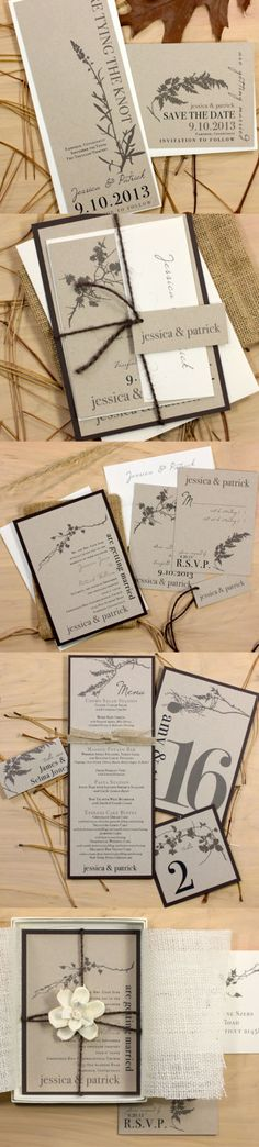 Ivory Romance - Rustic & Chic Save the Dates, Elegant, Eco Friendly Wedding Invitations, Boxed Invites, Menu Card, Table Number, Place Card