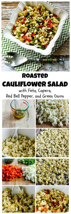 Roasted Cauliflower Salad with Feta, Capers, Red Bell Pepper, and Green Onion is so delicious, and this fantastic salad is #LowCarb, #GlutenFree, and #SouthBeachDiet friendly.  Use the toaster oven to roast the cauliflower if you don't want to heat up the oven.  [from KalynsKitchen.com]