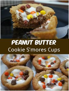 Peanut Butter Cookie Cups filled with Marshmallows, Chocolate Chips and Reese's Pieces.