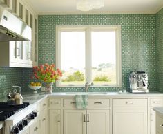 Green Mosaic Tile on Kitchen Design