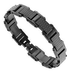 Mens Stainless Steel Honeycomb Bracelet
