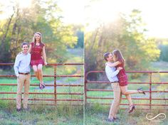 Ohio engagement, country engagement, farm, dirt road, red dress, fall engagement, country field, country love