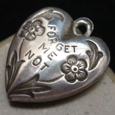 Puffy Heart Charm Vintage Sterling Silver Forget Me Not | eBay