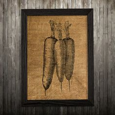 Carrot print. Burlap poster. Food decor. Kitchen print.  PLEASE NOTE: this is not actual burlap, this is an art print, the image is printed on art