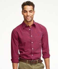 Signature Washed Poplin Shirt, Slim Fit Check