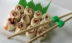 """Sandwich """"sushi""""- A fun way to let children learn how to use chopsticks!  Let Your imagination run wild.. Pb & j...ham & cheese...etc."""