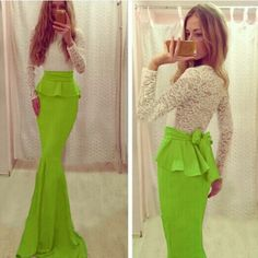 Beautiful white and lime green  floor length gown. This is a Crazy Pinkk favorite!
