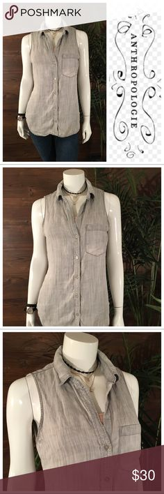 Cloth & Stone Sleeveless Woven Grey Sleeveless woven with front pocket detail, a must have Basic. Anthropologie Tops Blouses
