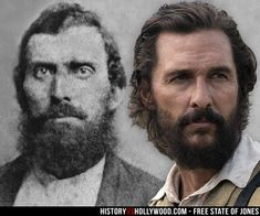 Newton Knight and Matthew McConaughey as Knight in the Free State of Jones Civil War movie. Read 'Free State of Jones: History vs. Hollywood' - http://www.historyvshollywood.com/reelfaces/free-state-of-jones/