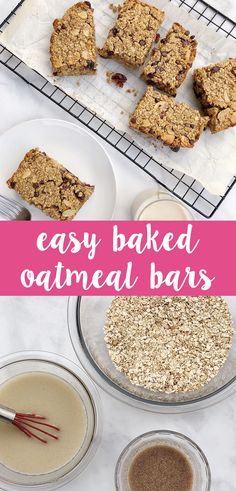 Dairy-Free Baked Oatmeal Bars are soft and chewy breakfast treats that double as the perfect mid-day snack Dairy Free Diet, Dairy Free Recipes, Real Food Recipes, No Bake Oatmeal Bars, Baked Oatmeal, A Food, Good Food, Yummy Food, Breakfast Recipes