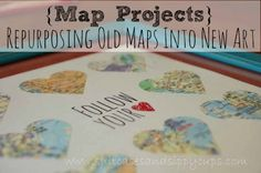 {Map Projects}: Repurposing Old Maps to Remember the Places You Love - Suitcases and Sippy Cups Map Projects, Diy Craft Projects, Diy Crafts, Craft Ideas, Paper Crafts, Decor Ideas, Traveling With Baby, Travel With Kids, Family Travel