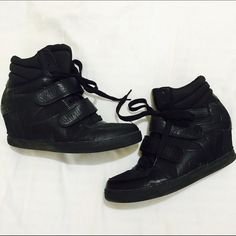 Sneaker Wedges Black sneaker wedges. Laces then velcro straps over it. Size 10 but fit more like a size 9. Super fun way to turn dress up something casual! Don't love the price? Make an offer! Forever 21 Shoes Wedges