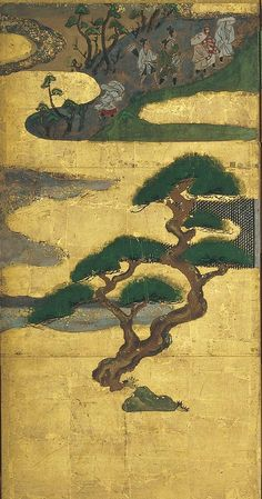 Fourth panel. Nine Scenes from the Tale of Genji. Tawaraya S? Eight fold Japanese screen. Minneapolis Institute of Art. Japanese Wall Art, Japanese Screen, Japanese Painting, Japanese Prints, Sumi E Painting, Feuille D'or, Japan Art, Outsider Art, Landscape Art