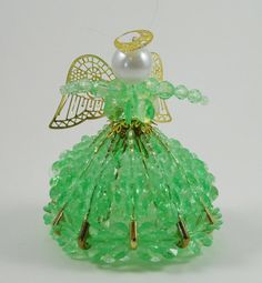 Green Beaded Angel Christmas Ornament by AnnieRosesSunshine, $15.00