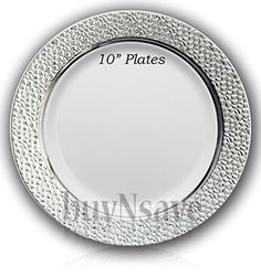 buyNsave White with Silver Heavyweight Plastic Elegant Disposable Plates Wedding Party Elegant Dinnerware Hammered Collection Dinner Plates)  sc 1 st  Pinterest & Posh Setting Antique Collection 40 Pack China Look 9 Inch... https ...