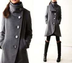 Missing you - crystal buttoned quilted cashmere coat/ ...
