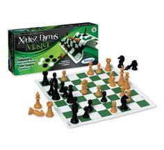 6009.8 - Xadrez e Damas Master | Com peças plásticas. Tabuleiro em couro sintético: 35 x 35 cm. Rei: 9 cm | Faixa etária: + 7 anos | Medidas: 36,5 x 4 x 19,5 cm | Xalingo Brinquedos | Xadrez | Crianças