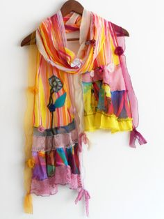 Rainbow scarf color scarves designer by Nazcolleccolors on Etsy