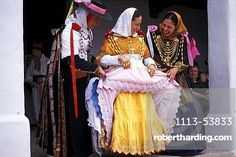 Three women in traditional dress, Folklore, Tanz, Sant Miquel, Ibiza, Balearic Islands, Spain