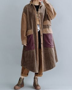 Women Corduroy coat, Cotton Windbreaker, Large Size coat, Spring coat Black Dress Coat, Maxi Coat, Womens Denim Dress, Denim Shirt Dress, Long Sweater Coat, Long Sweaters, Green Wool Coat, Hooded Winter Coat, Wool Overcoat