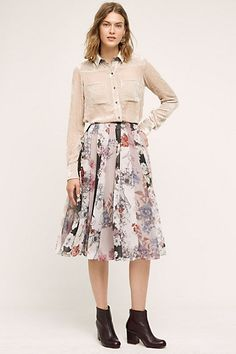 """Flowerful Skirt #anthropologie Details: Polyester; modal lining Midi silhouette Side zip Dry clean Imported Style No. 4120099466665 Dimensions 29.5""""L"""