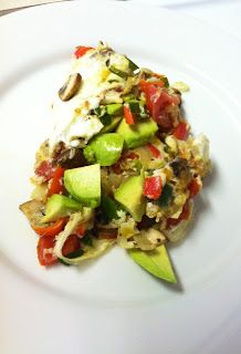 Jalapeño, tomato, mushroom, avo and egg white omelette... Now please