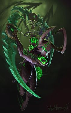 My take on a Genji-Illidan mashup. So If there was a backstory to this it would be something like, Genji getting revived by Mercy using both the skull of gul& as well as advanced medicine and ci. Warcraft Legion, Warcraft Art, Overwatch Genji, Overwatch Comic, Heroes Of The Storm, Fantasy Weapons, Fantasy Warrior, Overwatch Skin Concepts, Illidan Stormrage
