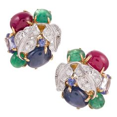 Seaman Schepps Emerald Ruby Sapphire Diamond Gold Vine Earrings | From a unique collection of vintage clip-on earrings at https://www.1stdibs.com/jewelry/earrings/clip-on-earrings/