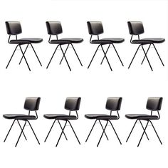 """Set of 8 """"Compas"""" Chairs by Pierre Guariche 