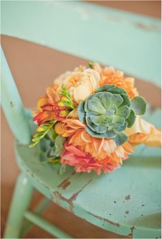 love the dahlia and succulents together...really compliments the seafoam color