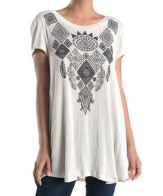 c6e238ce0 Another great find on  zulily! Oatmeal Geometric Back-Keyhole Top   zulilyfinds Oatmeal