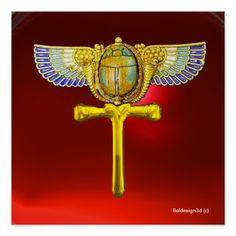 EGYPTIAN WINGED SCARAB ANKH ,CORNUCOPIA GOLD JEWEL IN RED